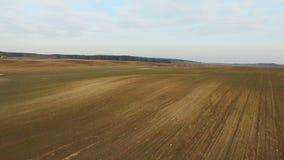 4K Niski lot nad świeżo kultywujący pola w wiośnie, widok z lotu ptaka zbiory wideo