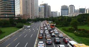 4k Nowożytnego miastowego miasta ruchu drogowego ruchliwie dżemy, autostrady &business domów uliczny budynek zbiory