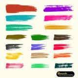 K?nstlerischer Hintergrund des Vektors Gespeicherte Palettendateib?rsten Farbige Farbe, Acrylb?rste, gouashe B?rstenanschlag, Lin stock abbildung