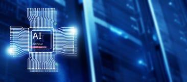 K?nstliche Intelligenz Zukunft-Technologie Kommunikationsnetzkonzept Unscharfer moderner datacenter Hintergrund stock abbildung