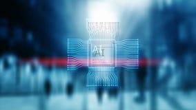 K?nstliche Intelligenz Zukunft-Technologie Unscharfer abstrakter blauer Hintergrund St?dtische Szene lizenzfreie abbildung