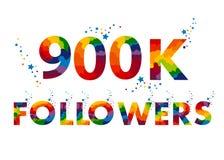 900K nueve centenares mil seguidores ilustración del vector