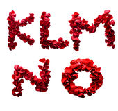 K - O made from red petals rose Stock Photo
