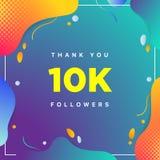 10k o 10000, seguaci vi ringraziano numero geometrico variopinto del fondo estratto per gli amici della rete sociale, seguaci, ut illustrazione di stock