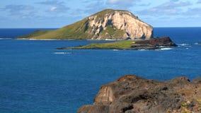 4k Oahu Hawaii Coast, Rabbit Island. Beautiful view of Rabbit Island from Makapuu Lookout, Oahu, Hawaii stock video footage