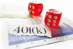 401k och tärningbegrepp Fotografering för Bildbyråer