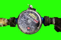 4K. Old Water Meter with green screen, Ultra HD stock footage