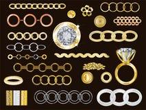 14k ouro, ouro branco, Rose Gold ilustração royalty free