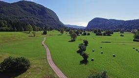 4K Ovannämnd grön dal för flyg nära Bohinj sjön i morgonen Väg till den Stara Fuzina byn i Julian Alps Triglav NP stock video