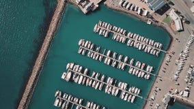 4K Overhead Angle Marina Full Of Boats stock video footage