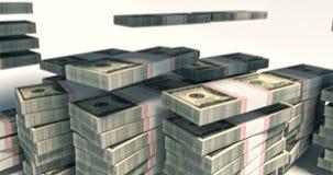 4K pakket van 100 dollarsrekeningen die neer vallen royalty-vrije illustratie