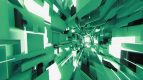 4K Pan Across Futuristic Interior avec les rayons légers illustration stock