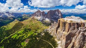 4K Panning timelapse from the top of Sass Pordoi Mountain, Dolomites, Italy stock footage