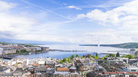 4k panorama van stad van Genève, Leman Lake a stock footage