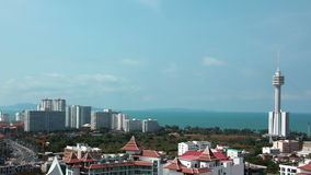 4K Panorama view of Pattaya city and Gulf of Siam, Thailand Stock Photos