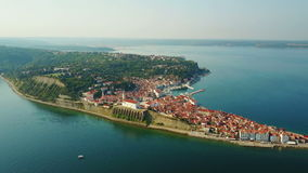 4K. Panoramic view of the old city Piran area in the morning. Aerial view of Istrian peninsula in Slovenia stock video