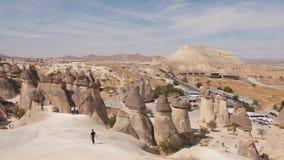 4K Panoramic View: Pasabag Monks Valley with Fairy Chimneys and Mushroom Rocks. 10 OCT 2018 - Cappadocia, Nevsehir, Turkey. 4K Panoramic View: Pasabag Monks stock video