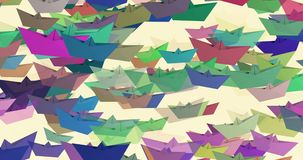 4K Paper boats in various colors on white stock footage