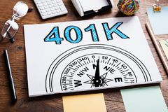 401k Pension Plan In Notebook. On The Table royalty free stock image