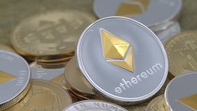 4K Physical metal silver Ethereum currency rotating over others coins. ETH-Dan. 4K Physical metal silver Ethereum currency rotating over others coins. Worldwide stock video footage