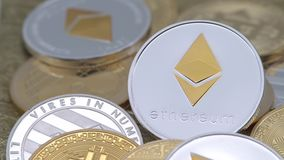 4K Physical metal silver Ethereum currency over others coins. Cryptocurrency-Dan. 4K Physical metal silver Ethereum currency over others coins. Worldwide virtual stock video footage