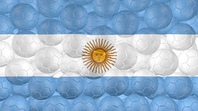 4K piłki nożnej piłki są spada puszkiem na bielu i tworzyć Argentina flaga ilustracja wektor