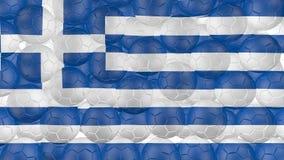 4K piłki nożnej piłki są spada puszkiem na bielu i tworzyć Greece flaga ilustracji