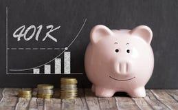 401K piggy bank concept. 401K retirement savings piggy bank concept stock photo