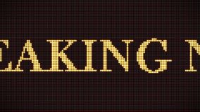 4K pixel breaking news sign scrolling on dark red digital LED screen. Motion graphic and animation background. royalty free illustration