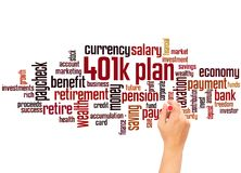 401k plan word cloud and hand writing concept. On white background royalty free stock photos