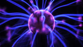 4K Plasma ball with moving energy rays inside. On black background. Seamlessly looping timelapse. 4K UHD 4096 x 2304 ultra high definition stock footage
