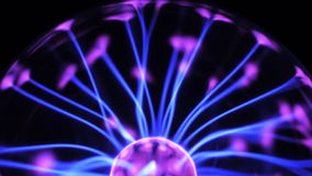 4K Plasma ball with moving energy rays inside on black background stock video footage