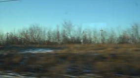 4K Point of View de la ventana de un tren de pasajeros El bosque abandonado del invierno se mueve fuera de la ventana almacen de metraje de vídeo
