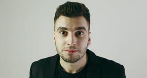 4K Portrait of a surprised man. stock video