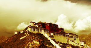 4k Potala in Lhasa,Tibet,time lapse of puffy cloud mass.