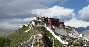 4k Potala in Lhasa,Tibet,white puffy cloud mass in the blue sky. stock video footage