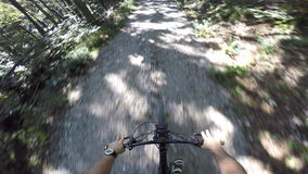 4K POV shot of Mountain biker cycling in nature stock footage