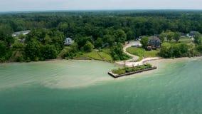 4k Powietrzny materiał filmowy Jeziorna Erie linia brzegowa zbiory wideo