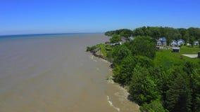 4k Powietrzny materiał filmowy Jeziorna Erie linia brzegowa zdjęcie wideo