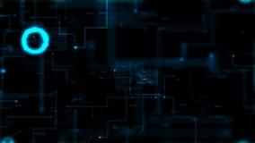 4K pricken och linjen överföring för den mörka för bakgrund för abstrakt begrepp för animeringen 3D knyter kontakt den infographi vektor illustrationer