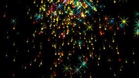 4k punteggia il fondo del fuoco d'artificio della particella delle stelle, energia del fuoco, esplosione della polvere nera illustrazione vettoriale