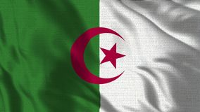 4K réaliste - drapeau de 30 fps de l'Algérie ondulant dans le vent illustration stock