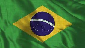 4K realístico - bandeira de 30 fps do Brasil que acena no vento ilustração royalty free