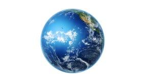 4K Realistic World Map Wraps to Spinning Globe white bg
