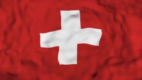 4k realistisches 3D führte die Zeitlupe Schweiz-Flagge, fliegenden die Schweiz-Flaggen-lebhaften Hintergrund einzeln auf, lizenzfreie abbildung