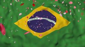 4k realistisches 3D führte Zeitlupe Brasilien-Flagge, fliegenden der Iran-Flaggen-lebhaften Hintergrund einzeln auf, vektor abbildung