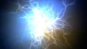 4k relâmpago atual abstrato, energia magnética do poder, fogos-de-artifício das partículas dos íons ilustração stock