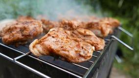 4K resolutie De sappige, smakelijke stukken van vlees met een knapperige korst zijn langzaam gekookt op houtskool Voedsel op de g stock videobeelden