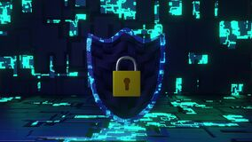 Abstract Cyber Security Shield in Futuristic Circuit Board Look and Background rotate seamless loop. 3D Rendering. middle