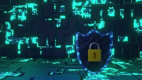 Abstract Cyber Security Shield in Futuristic Circuit Board Look and Background rotate seamless loop. 3D Rendering. right side
